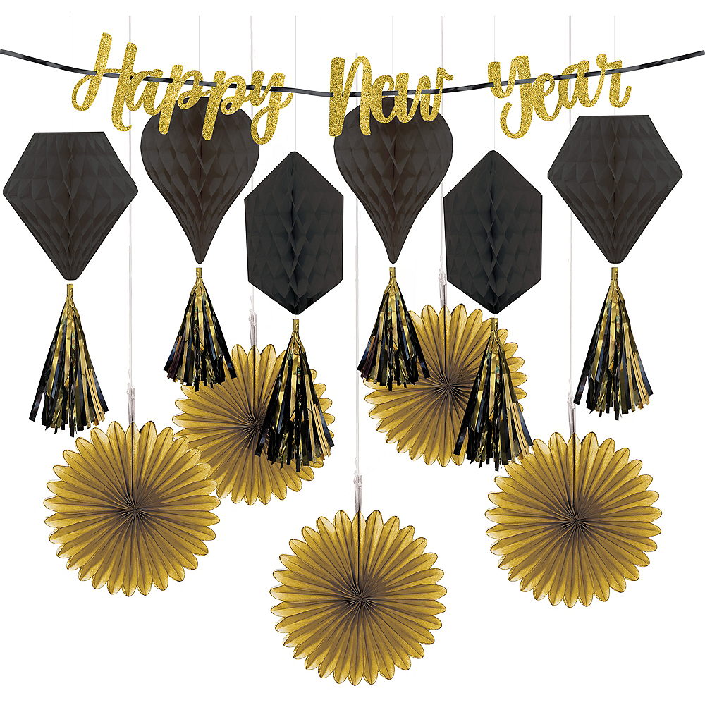 Glitter Black & Gold New Year's Eve Decorating Kit Image #1