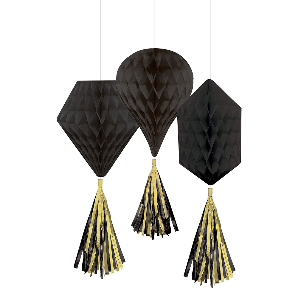 Glitter Black & Gold New Year's Eve Decorating Kit Image #4