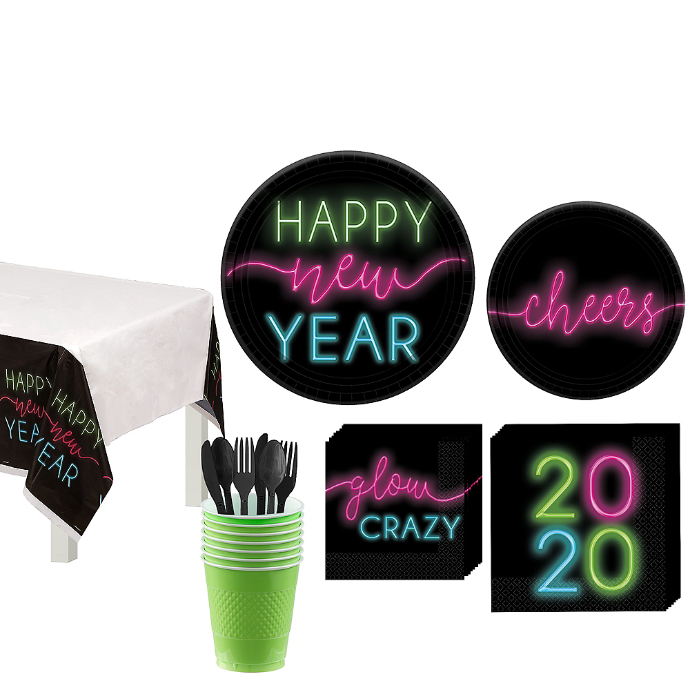 New Year's Glow Tableware Kit for 18 Guests Image #1