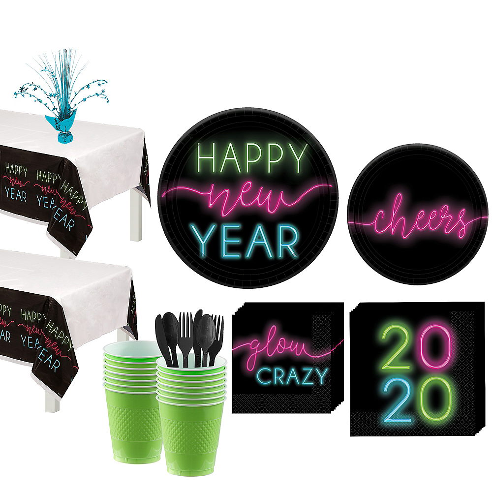 New Year's Glow Tableware Kit for 36 Guests Image #1