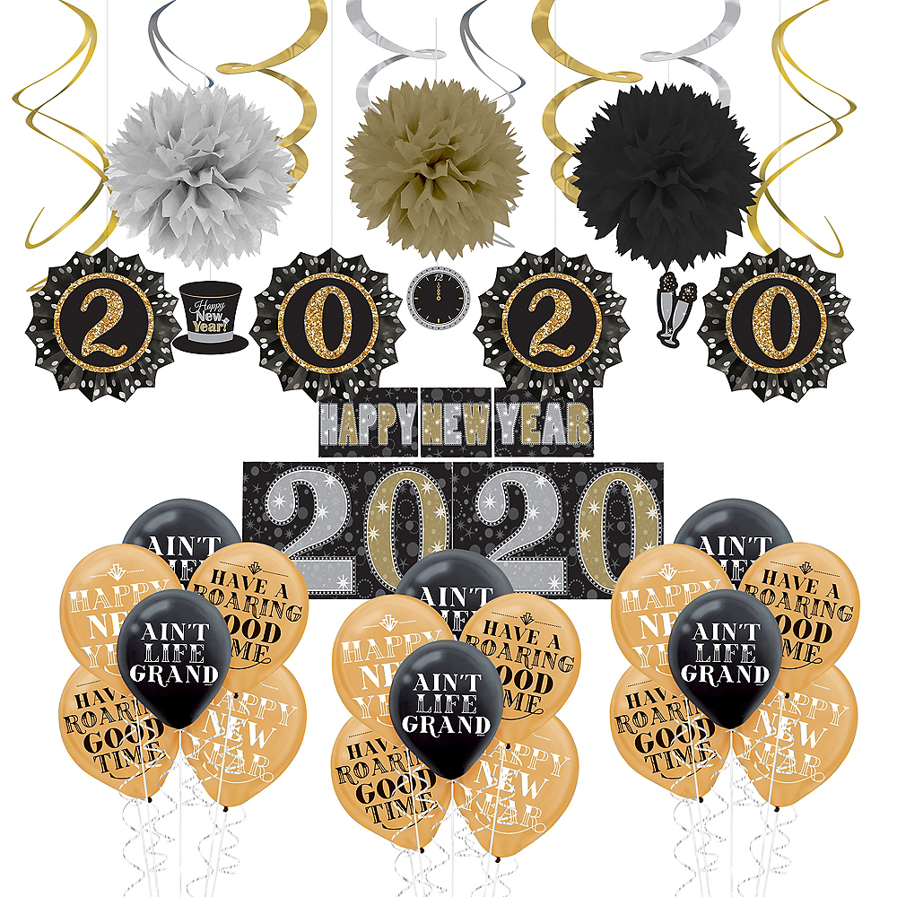 Black, Gold & Silver New Year's Eve Decorating Kit Image #1