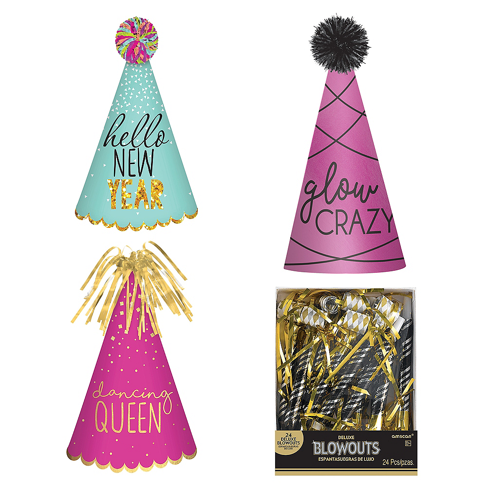 Blue & Pink New Year's Eve Party Kit for 16 Guests Image #1