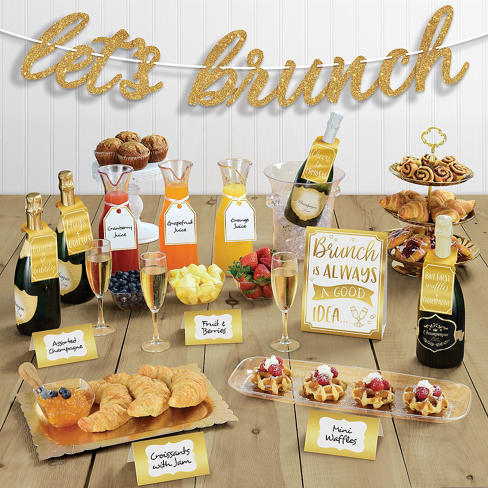 Glitter & Metallic Gold Brunch Buffet Table Decorating Kit 14pc Image #1
