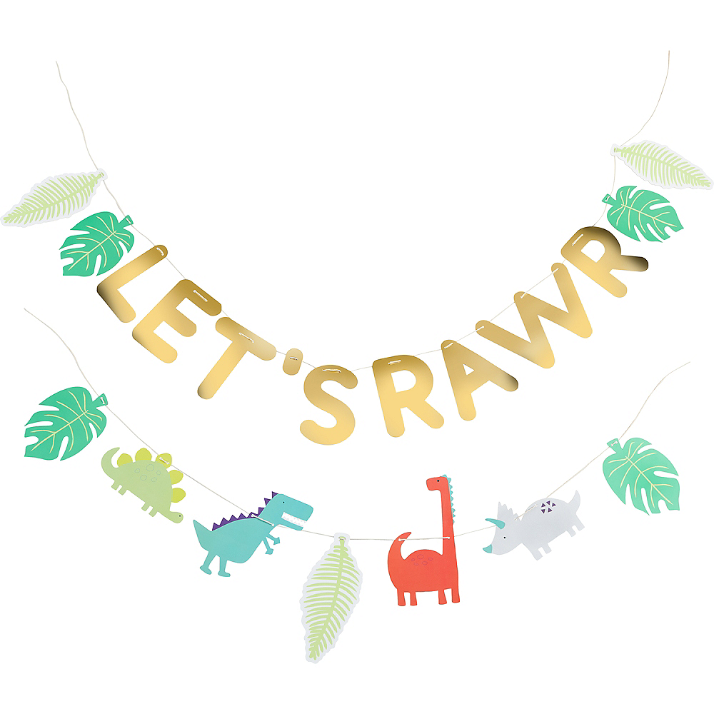 Metallic Gold Let's Rawr Letter Banner with Garland Image #2