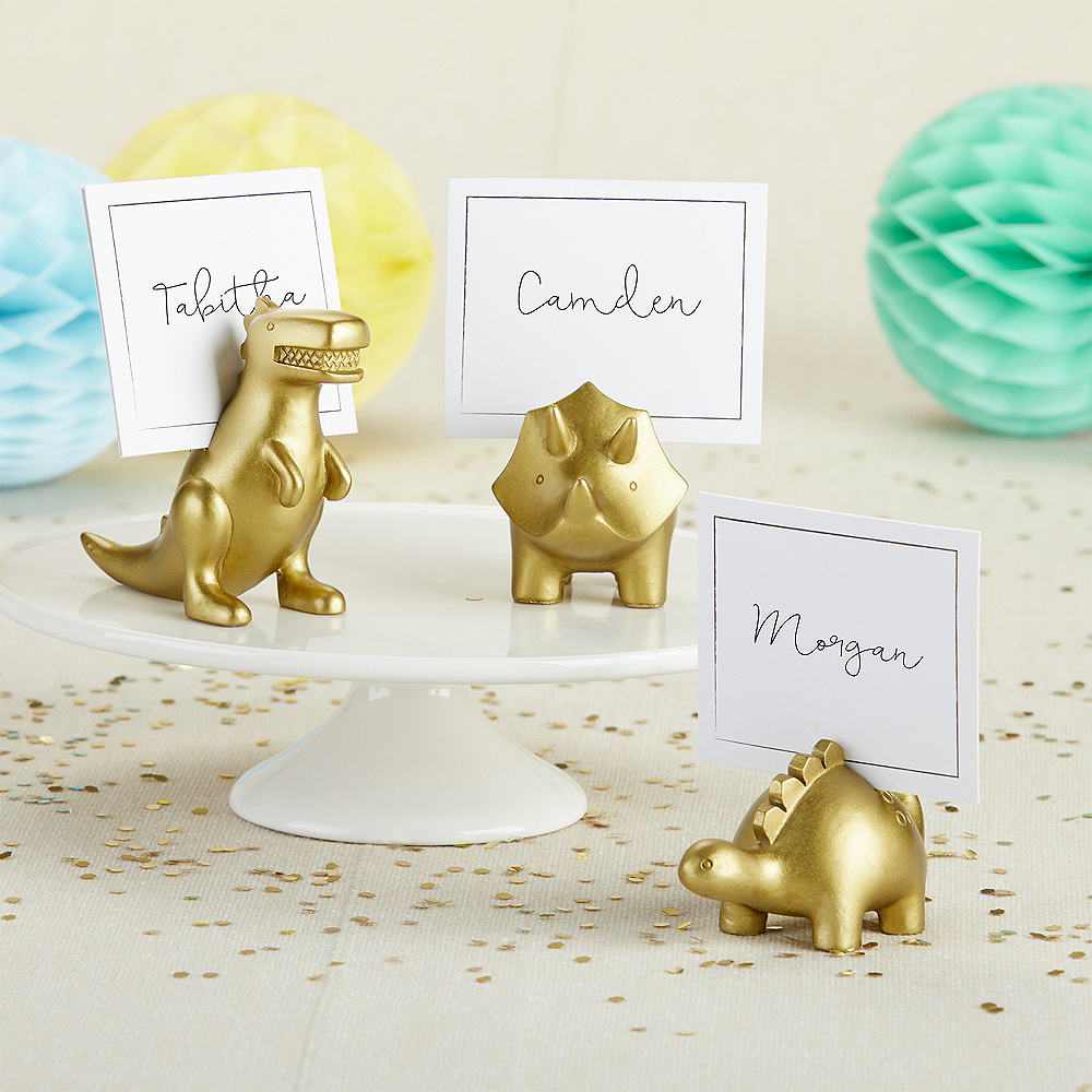 Nav Item for Gold Dinosaur Place Card Holders 6ct Image #1