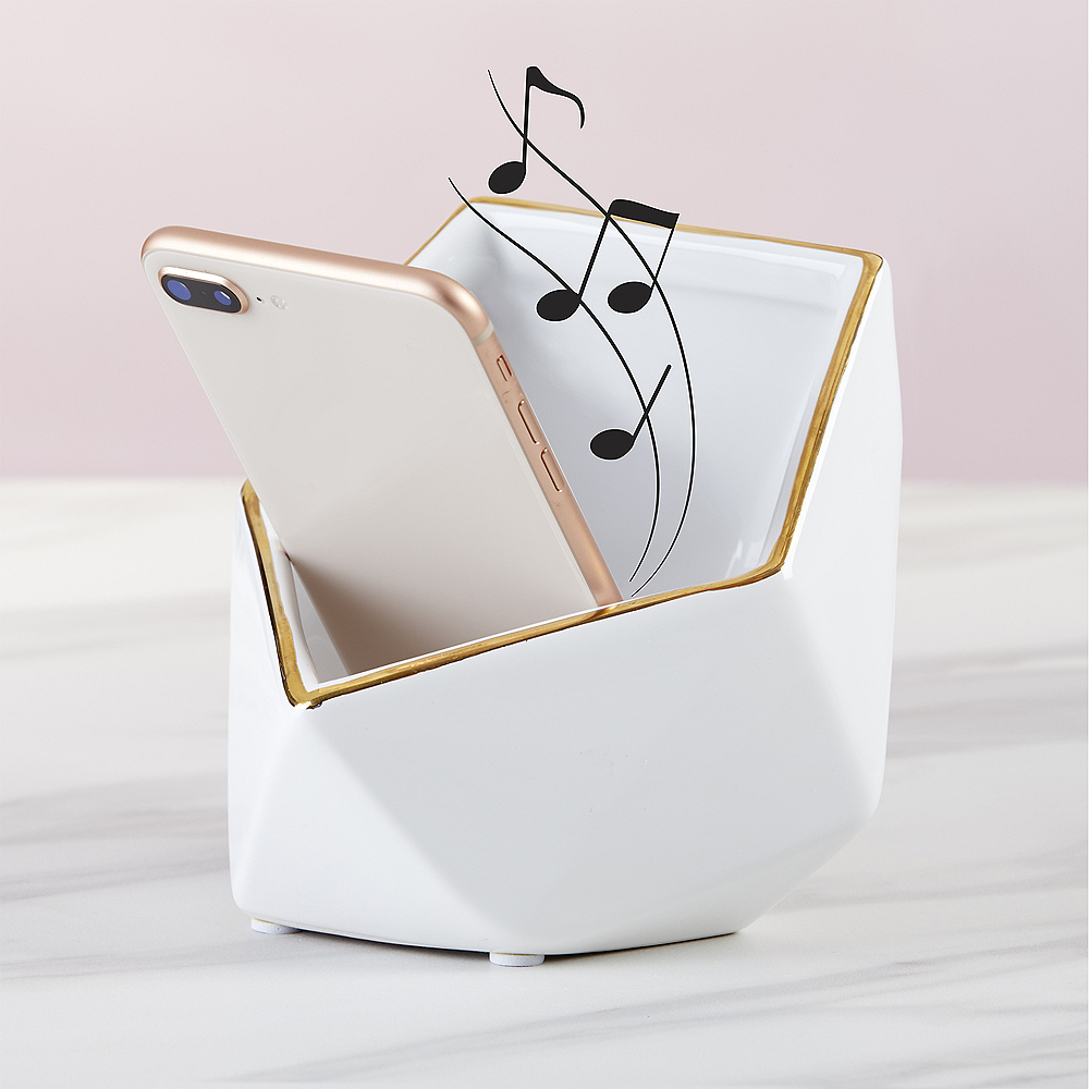 Gold & White Geometric Phone Stand with Sound Amplifier Image #1
