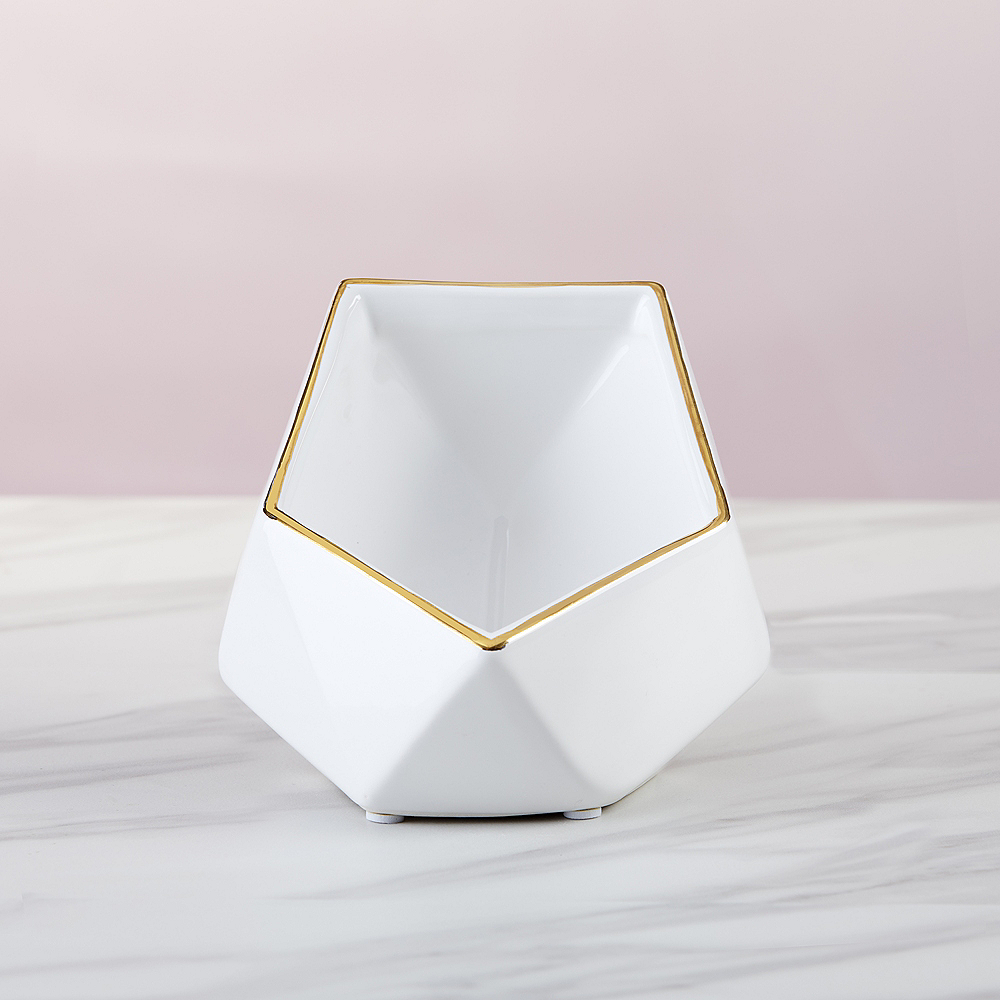 Gold & White Geometric Phone Stand with Sound Amplifier Image #3