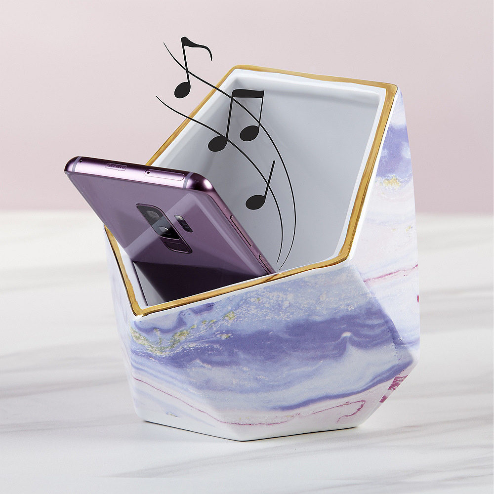 Gold & Marble Geometric Phone Stand with Sound Amplifier Image #1