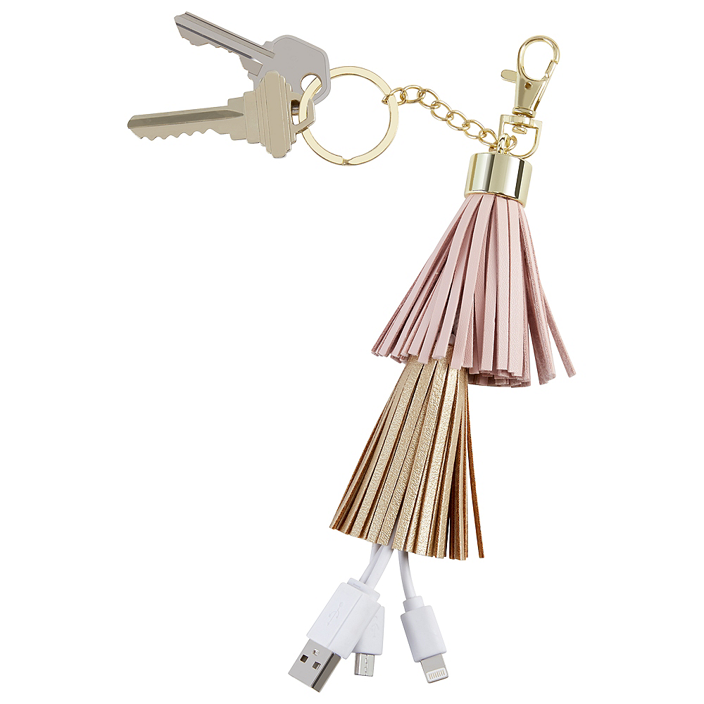 Gold & Pink Tassel USB Keychain Charger Image #1