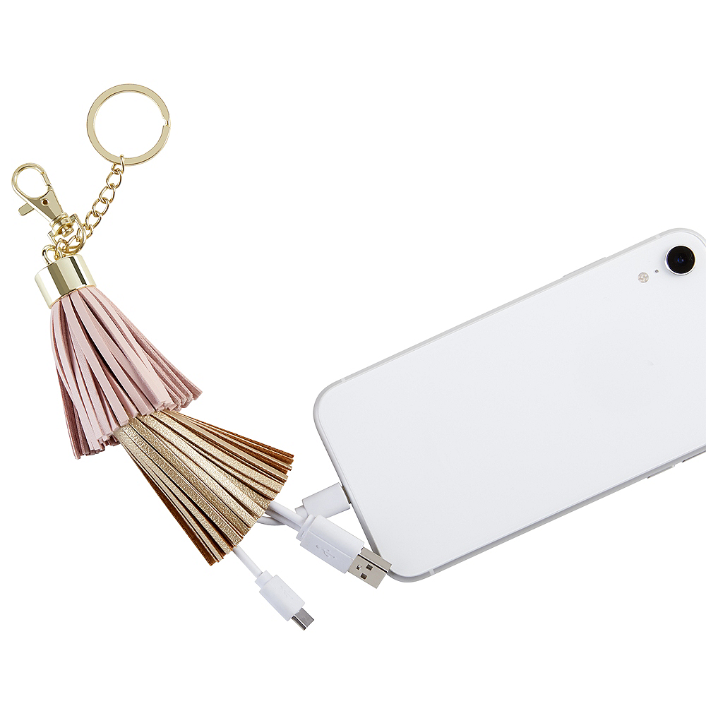 Gold & Pink Tassel USB Keychain Charger Image #3