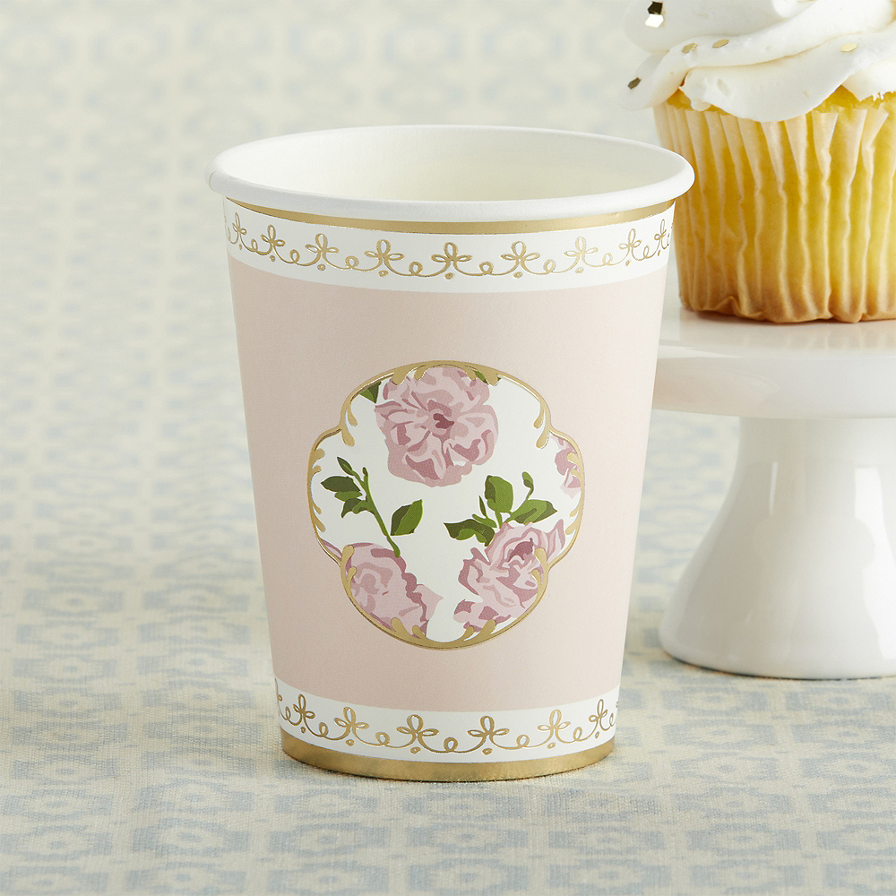 Tea Time Pink Floral Cups 32ct Image #1