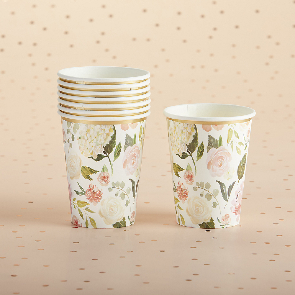 Soft Pink Floral Cups 32ct Image #2
