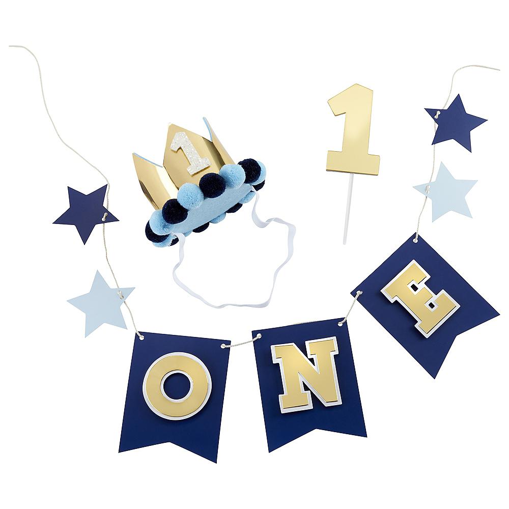 Blue & Gold 1st Birthday Smash Cake Kit Image #2