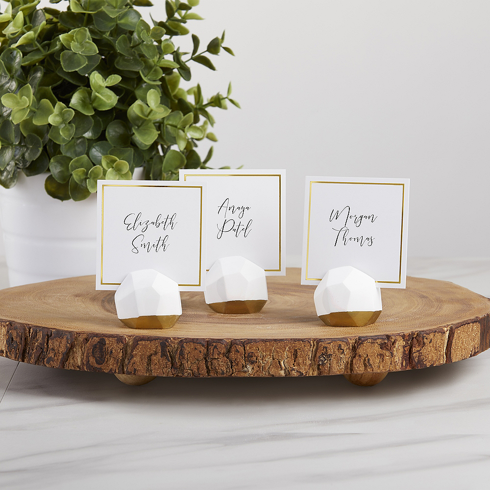 Gold & White Geometric Place Card Holders 12ct Image #1