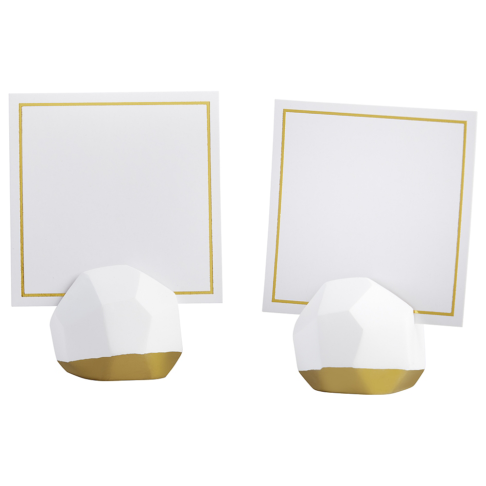 Gold & White Geometric Place Card Holders 12ct Image #2