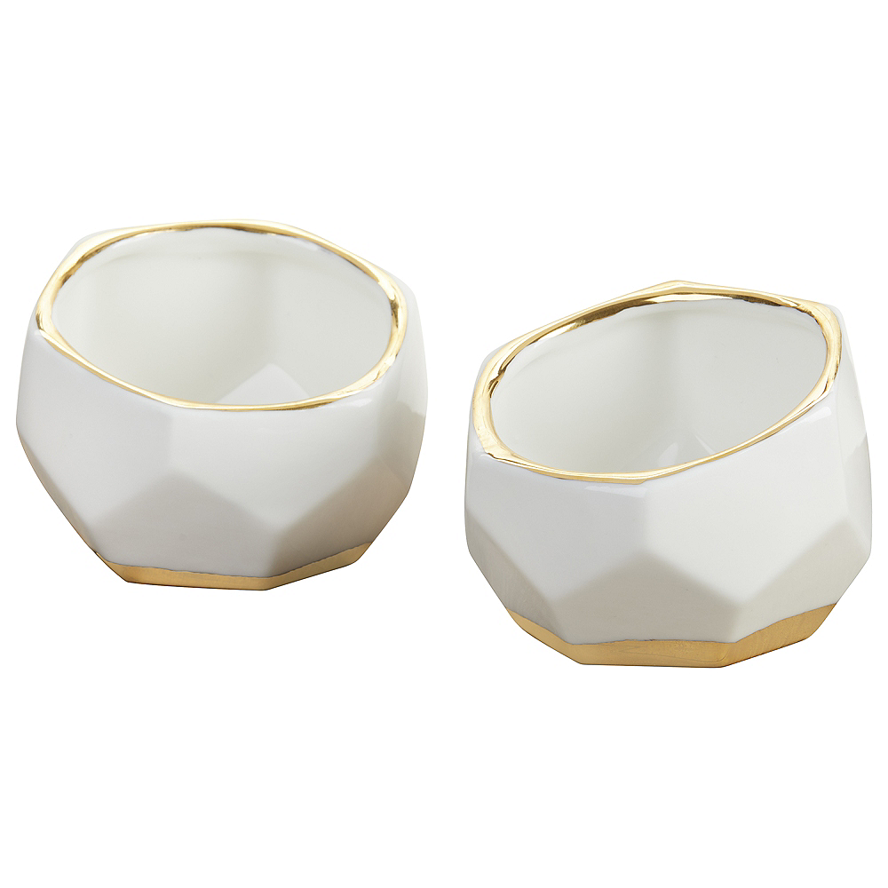Gold & White Geometric Ceramic Planters 4ct Image #2