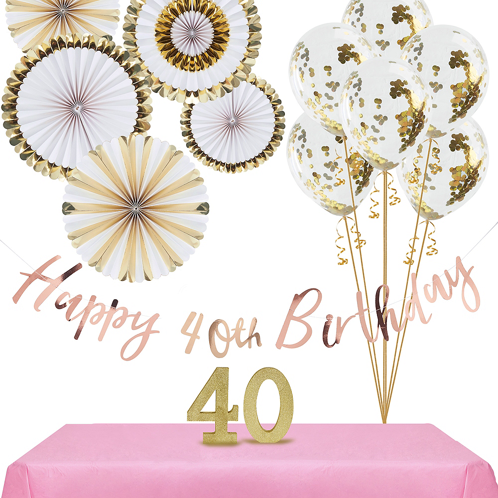 Ginger Ray Metallic Gold 40th Birthday Decorating Kit Image #1