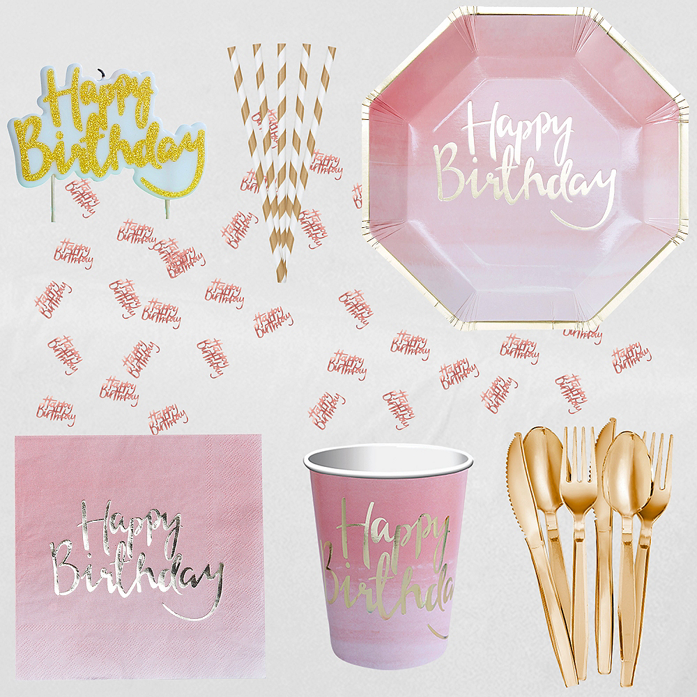 Super Ginger Ray Pink Ombre Party Kit for 16 Guests Image #1