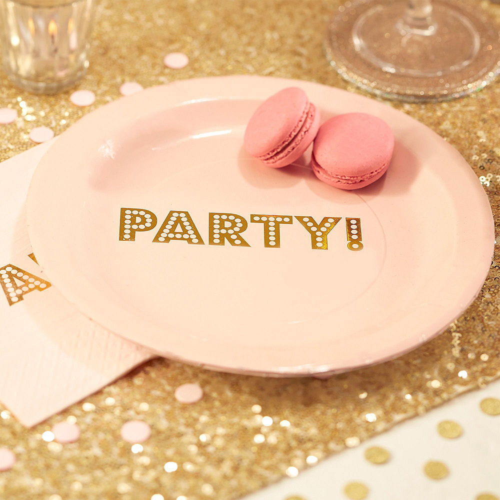 Super Ginger Ray Metallic Gold & Pink Party Kit for 16 Guests Image #2