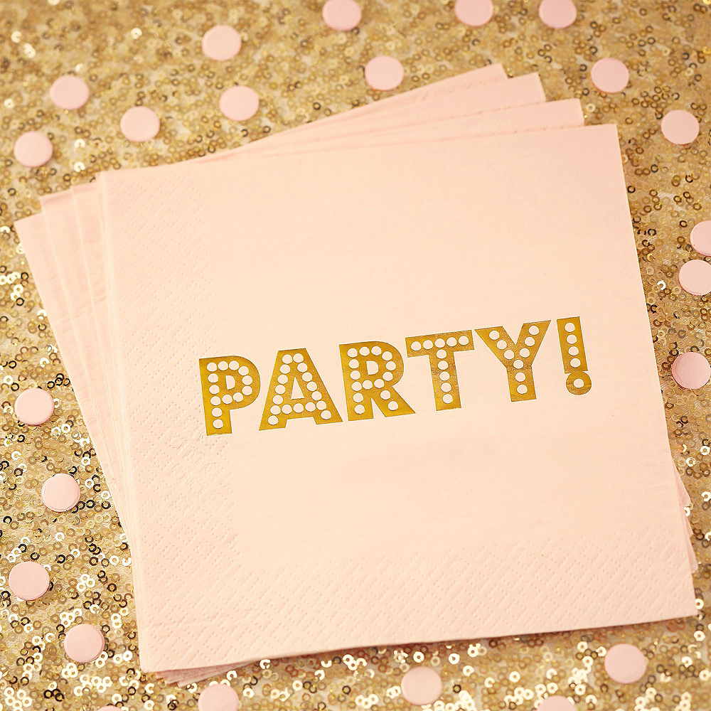 Super Ginger Ray Metallic Gold & Pink Party Kit for 16 Guests Image #3