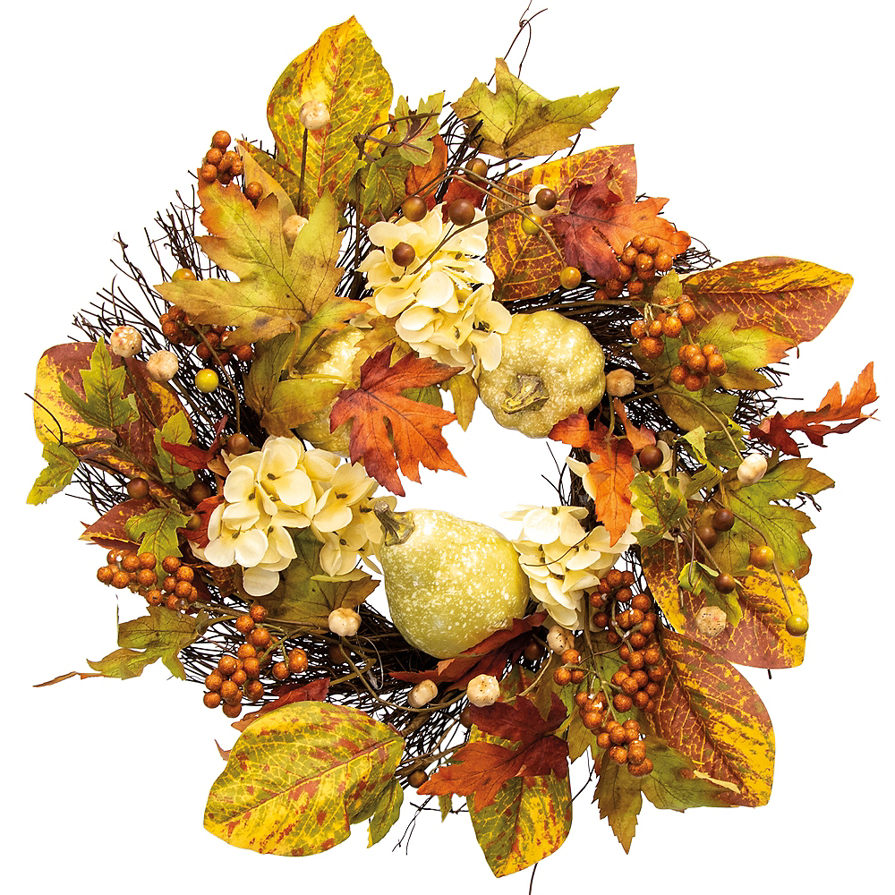 Gourds & White Flowers Wreath Image #1