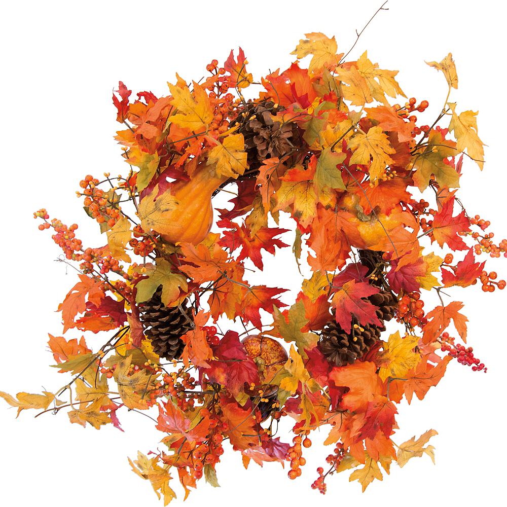 Large Maple Leaves & Pinecone Wreath Image #1