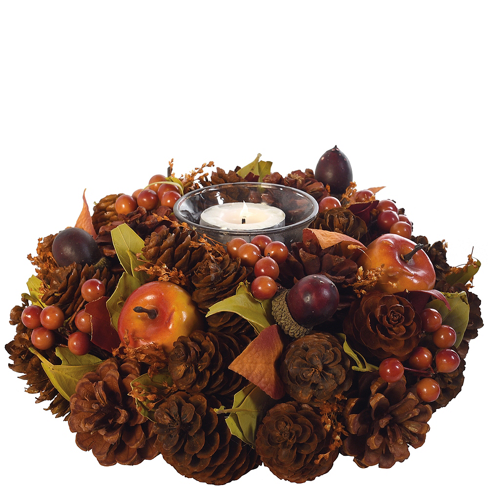 Fall Berries & Pinecone Tealight Candle Holder Image #1