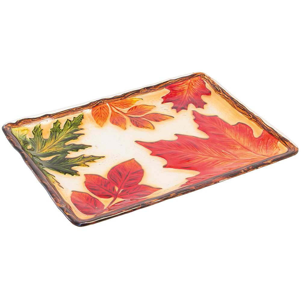 Fall Leaf Glass Rectangular Platter Image #1