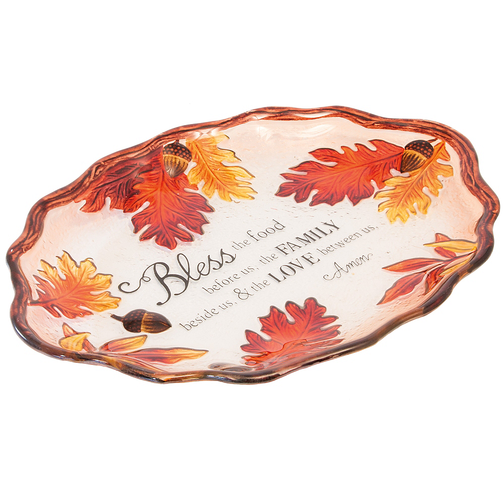 Acorn & Leaf Glass Oval Platter Image #1