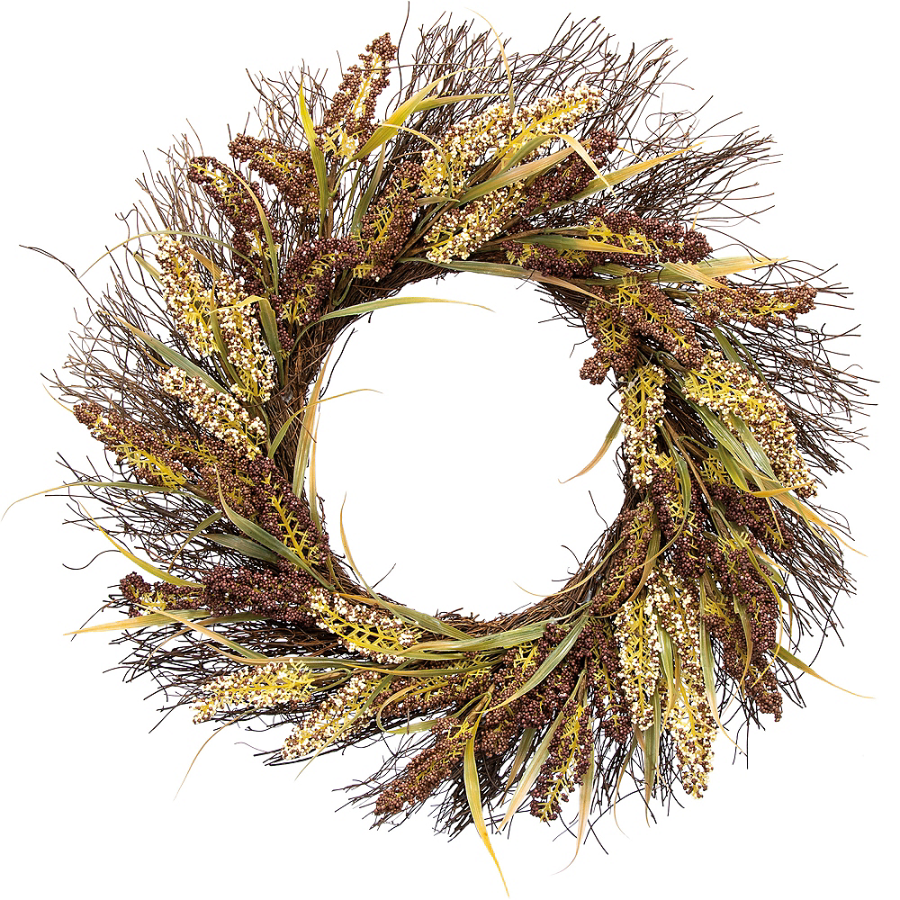 Large Purple & White Grass Wreath Image #1