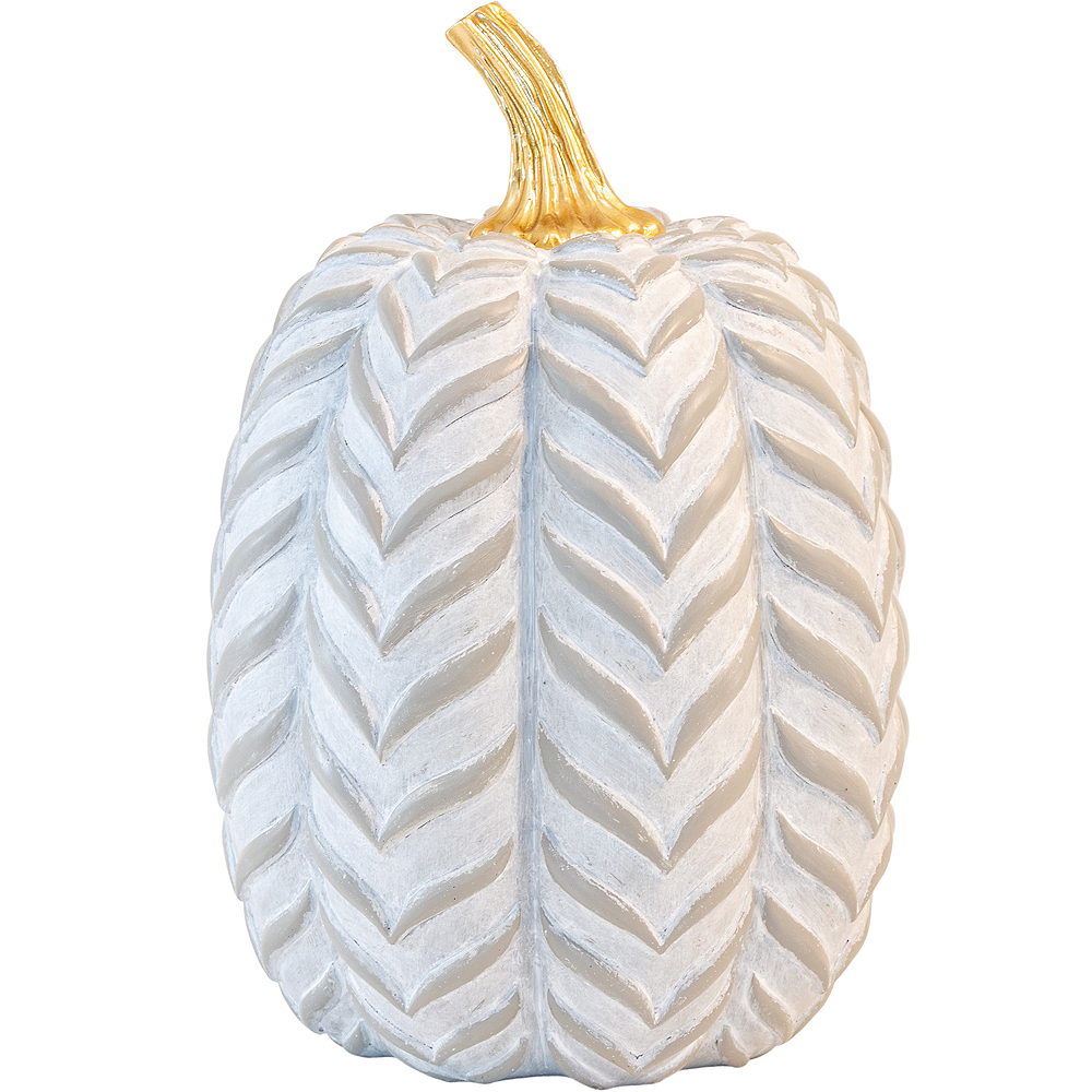 Gray & White Chevron Pumpkin Image #1