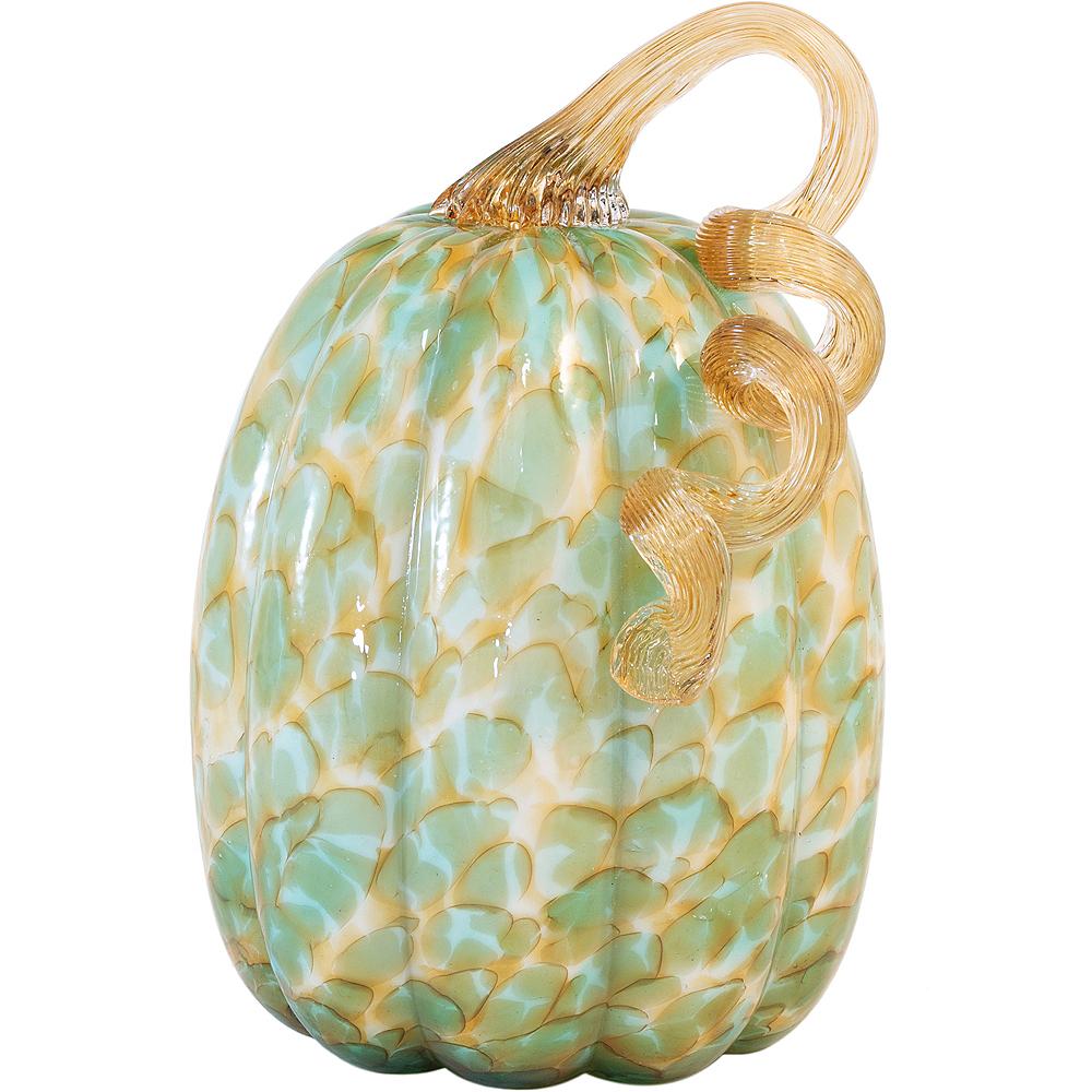 Large Gold & Green Glass Pumpkin Image #1