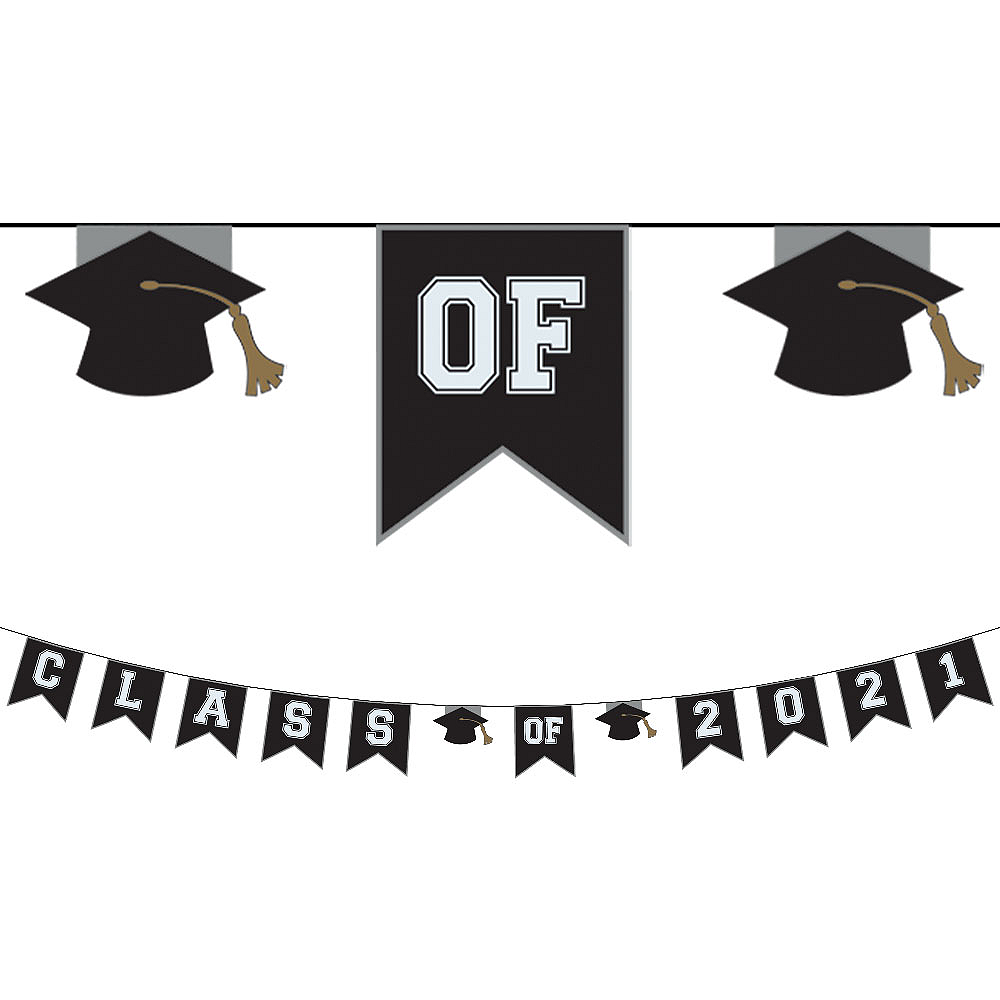 Black & White Class of 2020 Graduation Pennant Banner Image #1