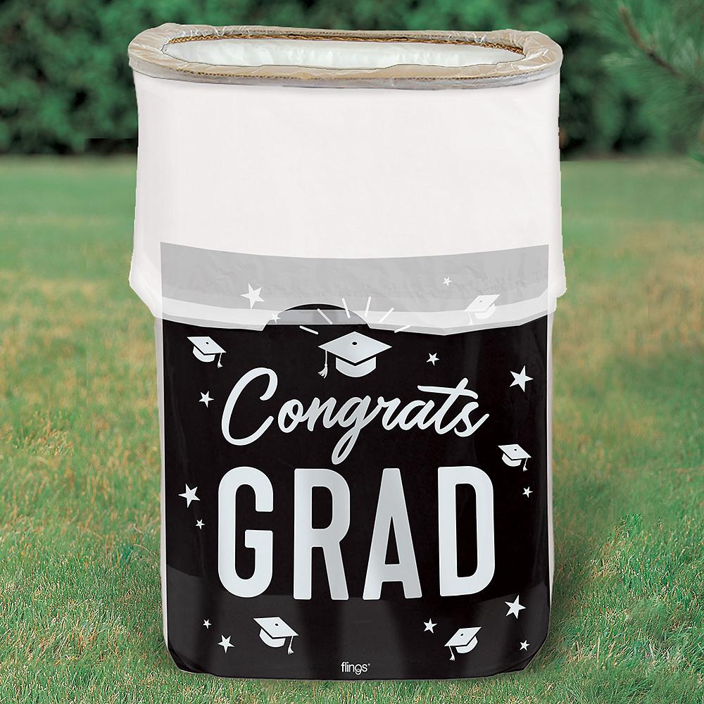 Black & White Congrats Graduation Pop-Up Trash Bin Image #2