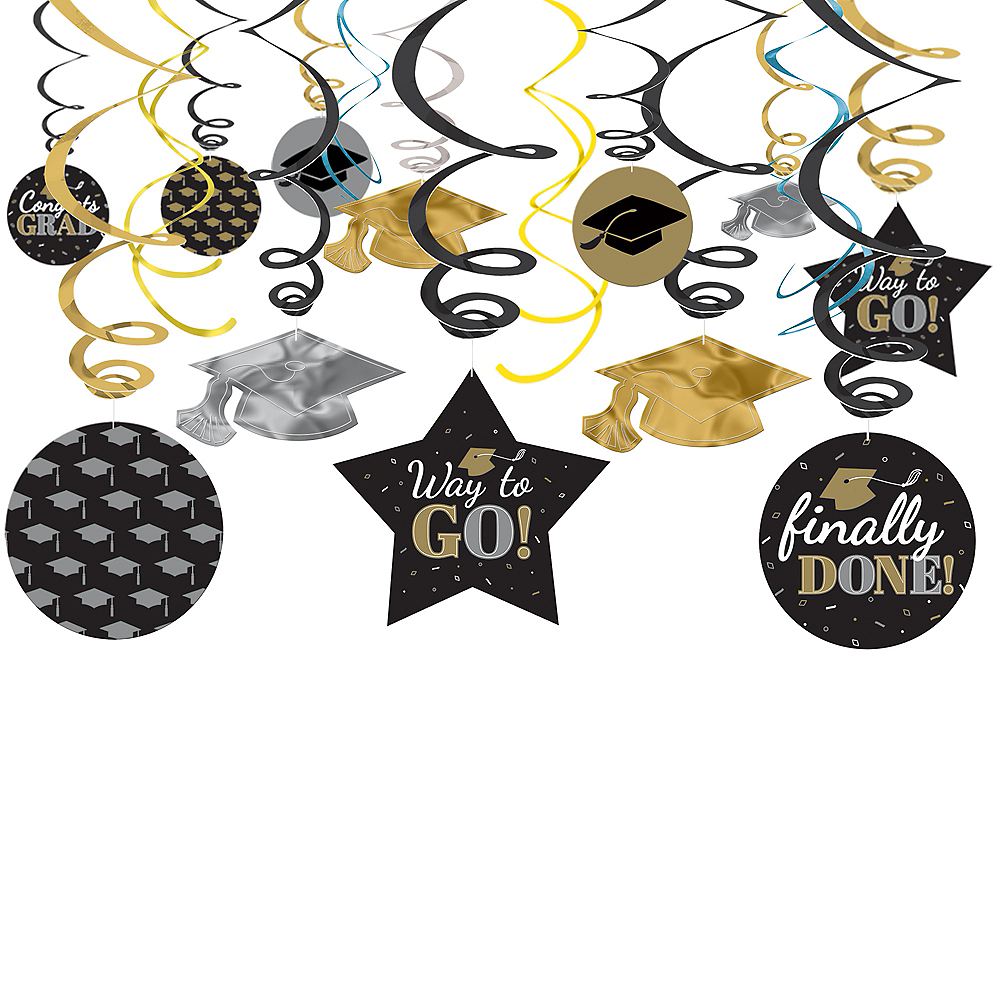 Nav Item for Assorted Black, Silver & Gold Graduation Swirl Decorations, 30ct Image #1