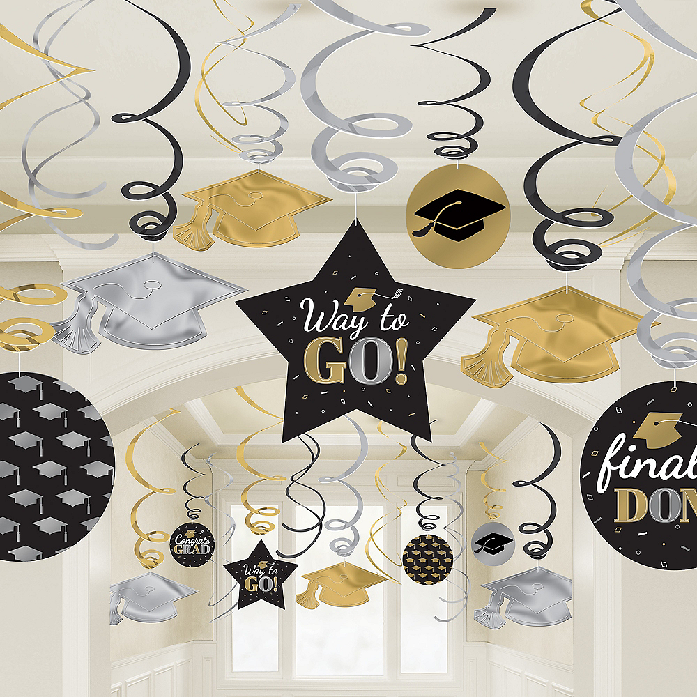 Nav Item for Assorted Black, Silver & Gold Graduation Swirl Decorations, 30ct Image #2