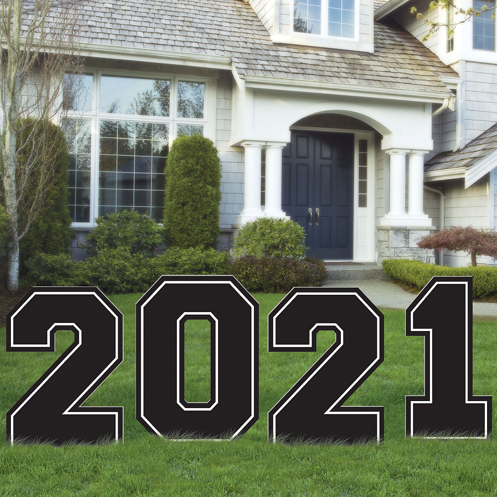 Giant Black & White 2020 Graduation Yard Sign 4pc Image #1
