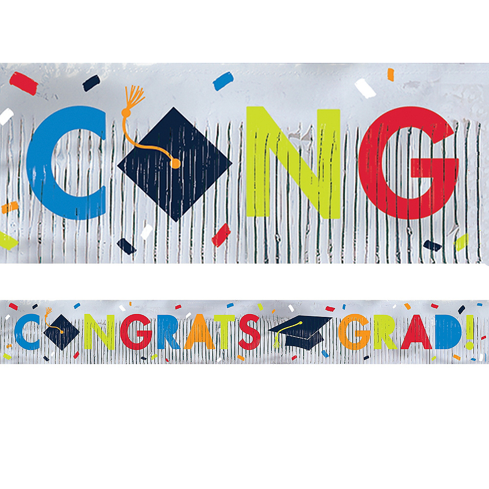 Navy Awesome Congrats Graduation Fringed Banner Image #1
