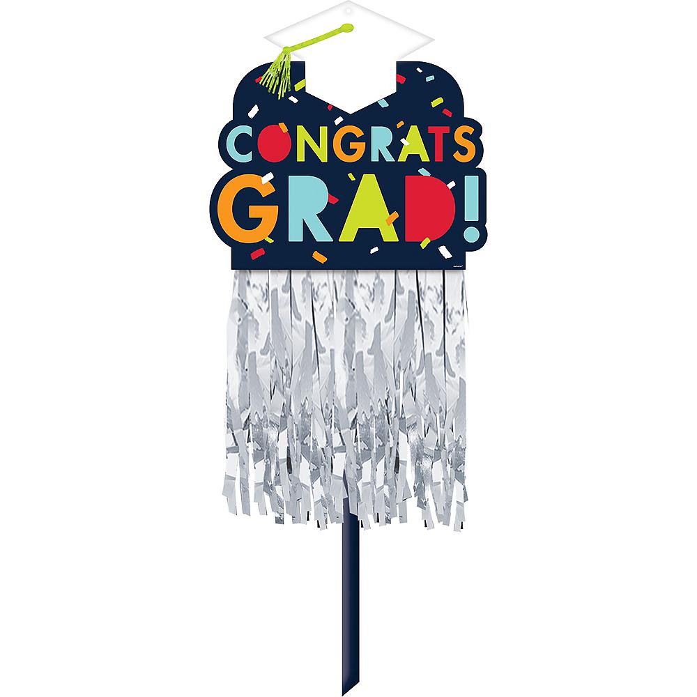 Navy Awesome Congrats Grad Embellished Graduation Yard Sign Image #1