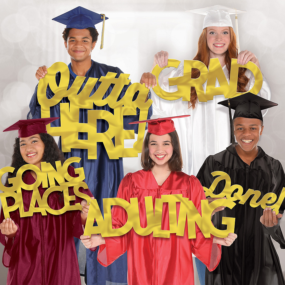 Giant Metallic Gold Celebration Phrases Graduation Photo Booth Props, 5ct Image #1