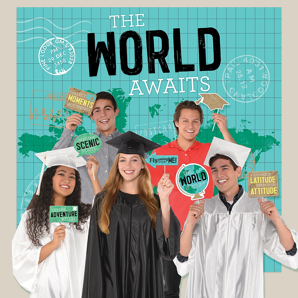 The World Awaits Graduation Scene Setter with Photo Booth Props Image #1