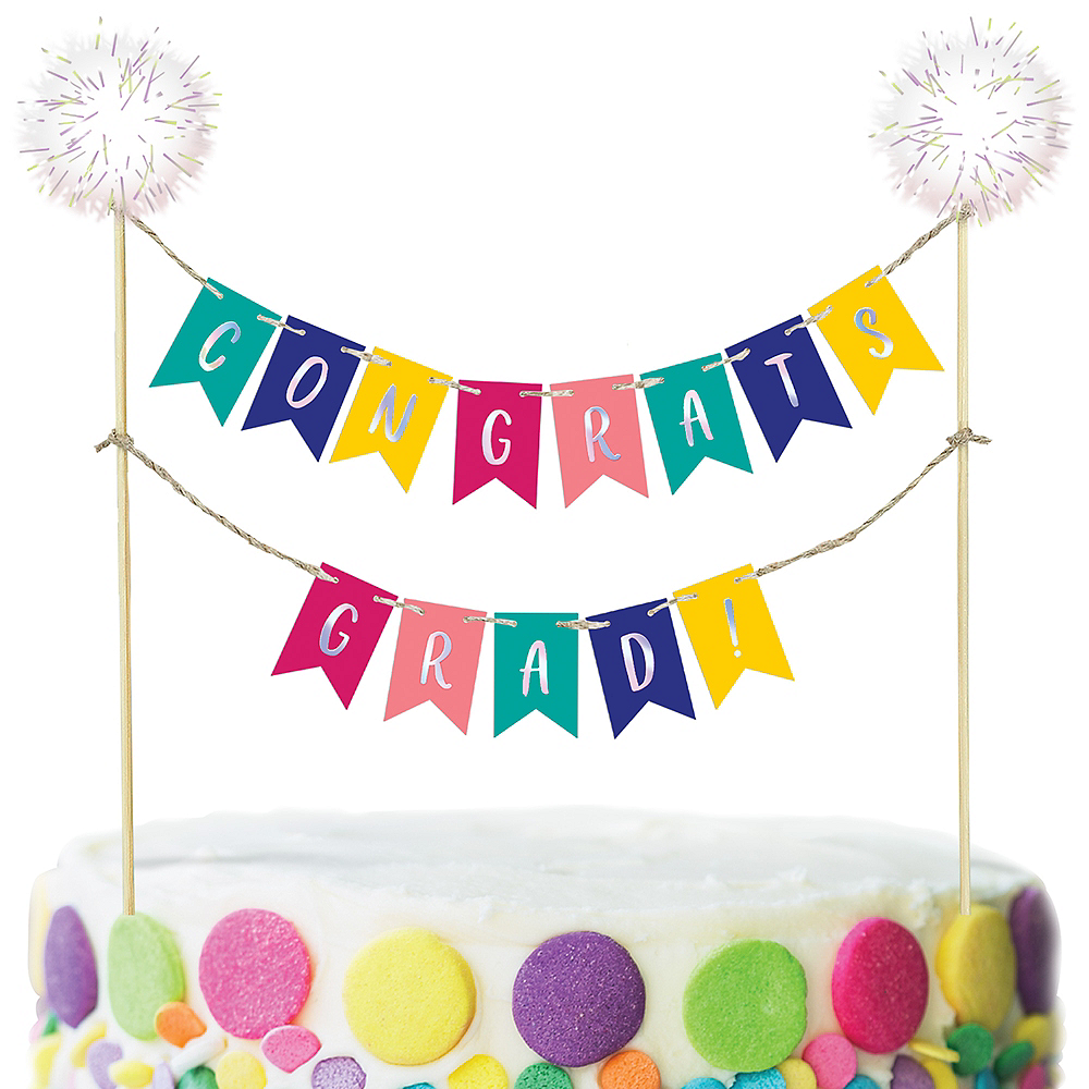 Multicolor Congrats Grad Pennant Banner Cake Decoration Image #1