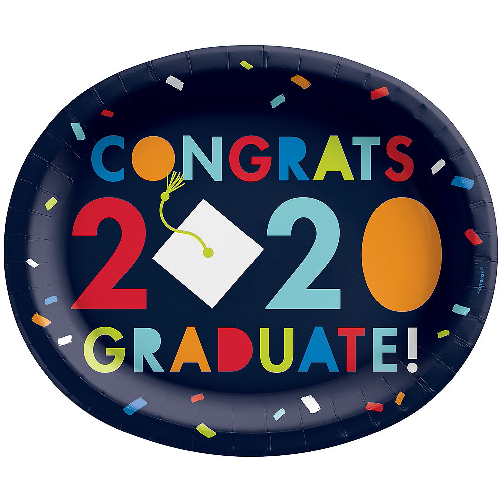 Navy Awesome Congrats 2020 Grad Oval Paper Plates, 12in, 18ct Image #1