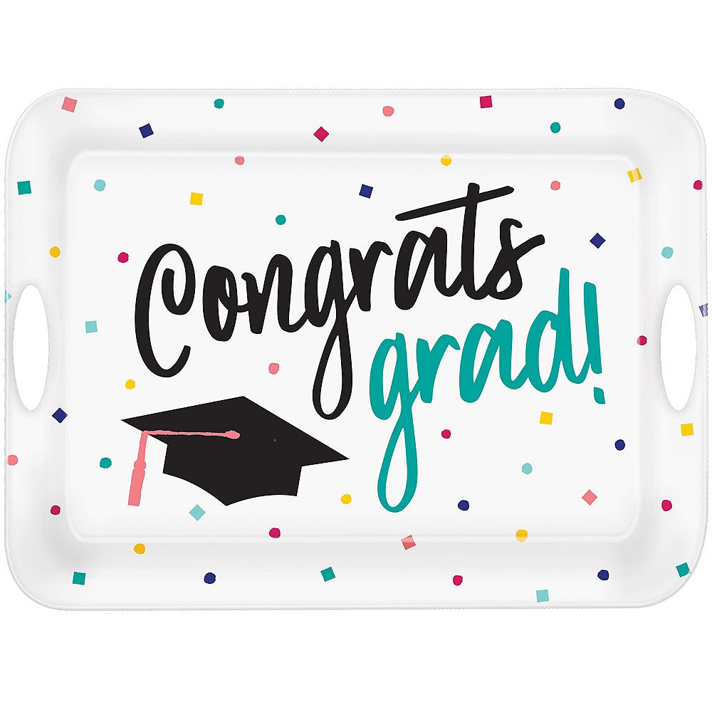 Multicolor Congrats Grad Serving Tray Image #1