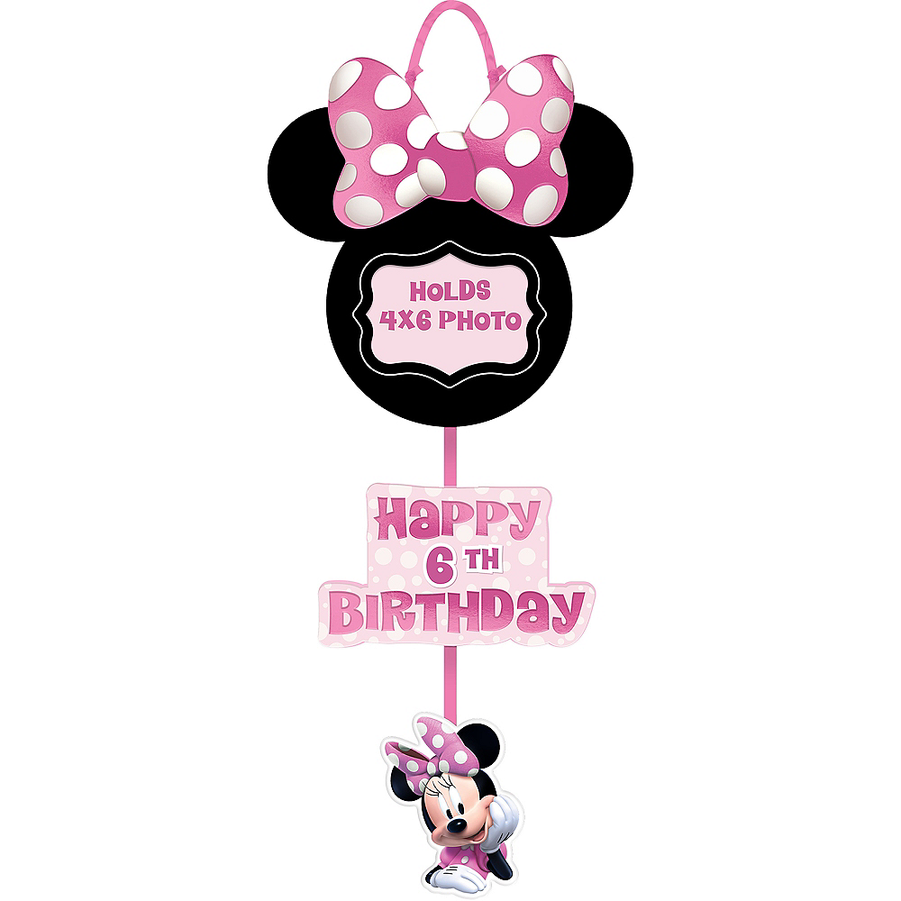 Minnie Mouse Forever Personalized Birthday Photo Sign Image #1