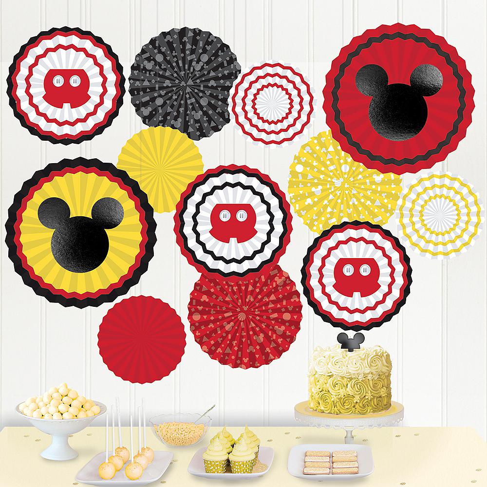Mickey Mouse Forever Paper Fan Decoration Kit 17pc Image #1