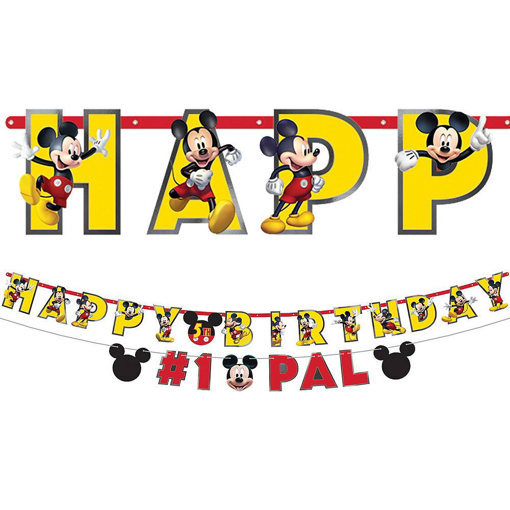 Mickey Mouse Forever Personalized Birthday Banner Kit 2ct Image #1