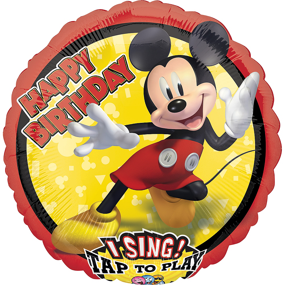 Mickey Mouse Happy Birthday Singing Balloon 28in Party City