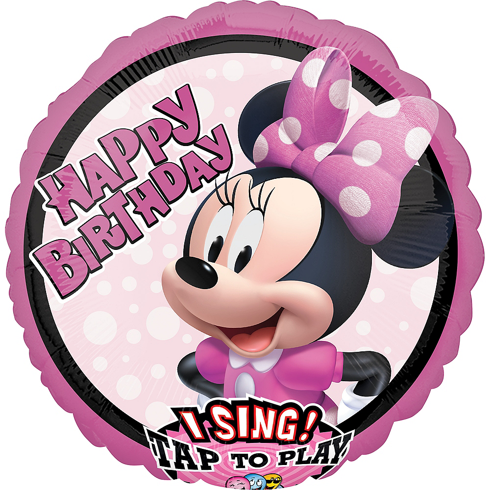 Minnie Mouse Happy Birthday Singing Balloon, 28in Image #1