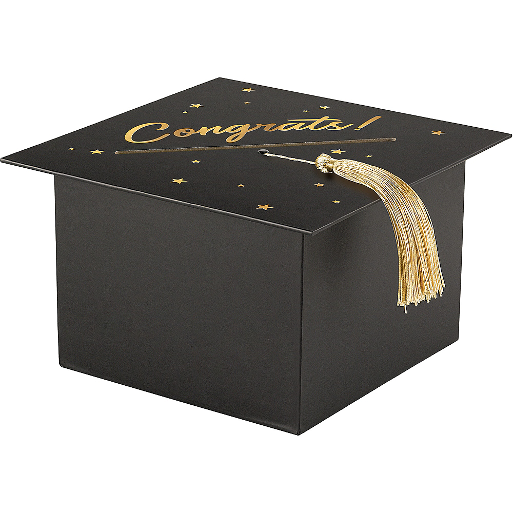 Black & Gold Mortarboard Cap Graduation Cardholder Box Image #1